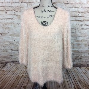Chico's 2 Fuzzy Peachy Pink Metallic Sweater
